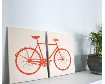 """Bike Print 16 x 24"""" Two Panel Bicycle Screenprint Set"""