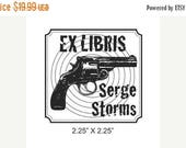 Gift for Grads 15% Off Custom Gun and Bullseye Ex Libris Bookplate Rubber Stamp Inspired by Tim Dorseys Serge  A32
