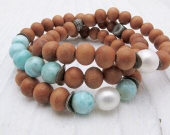 larimar bracelet, sandalwood bracelet, gemstone bracelet, Hill Tribe silver, stacking bracelet, boho stacking bracelet, fragrant sandalwood