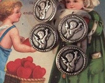 Precious Cherub or Cupid Silver Metal Picture Button Vintage NOS S/2 Valentine