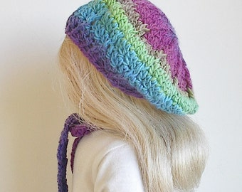 """18 Inch Doll Crocheted Beret and Scarf Set in Purple Turquoise Lime Green and Rose Handmade to Fit the American Girl and Other 18"""" Dolls"""