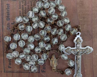AS IS Vintage Clear Glass Rosary Chain Cross Religious