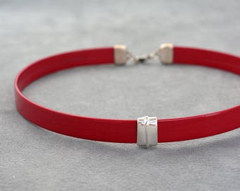 Red Leather collar, Leather choker, Choker necklace, bdsm collar, submissive day collar, slave, Chocker, Girlfriend gift idea