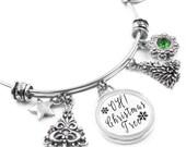 Christmas Tree Bangle Bracelet with Tree Charms, Star Charm and Emerald Crystal