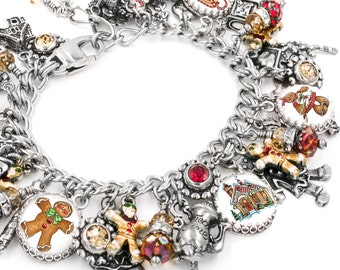 Holiday Bracelet - Gingerbread Bracelet - Christmas Jewelry - Silver Charm Bracelet - The Gingerbread Tea