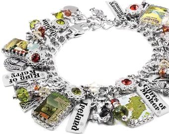 Ireland Bracelet, Irish Bracelet, Travel Bracelet with Vintage Irish Posters, Shamrock Charms, Dublin Charms, Engraved Ireland City Charms