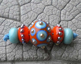 Southwest Mini Focal Set Lampwork Beads by Cherie Sra R114 Flamework Glass Bead Turquoise Orange Blue Silver Glass Dots Silver Glass Spacers
