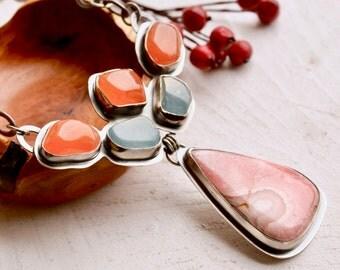 Unique One of a Kind Statement Necklace, Aquamarine Jewelry, Carnelian Necklace, Rhodochrosite Jewelry, Artisan Jewelry, Modern Art Jewelry