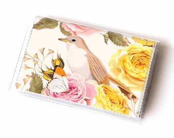 Vinyl Card Holder - Vintage Roses 2 / roses, floral, bird, flowers, card case, vinyl wallet, women's, small wallet, pretty, gift, pretty