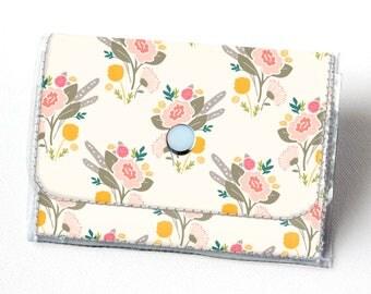 Vinyl Accordion Wallet - Flora Bouquets / small wallet, snap, cute, card case, vinyl wallet, women's wallet, yellow, floral, flowers, summer