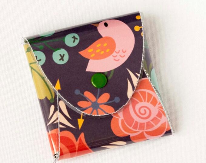 NEW Handmade Vinyl Coin Purse - Gentle/ wallet, vegan, change, snap, small, little, pocket wallet, gift, bird, purple, floral, cute