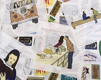"Set of 10, 5""  Stars Hollow Scenes Illustrated Fabric Panels"