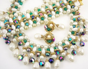 Pearl and Glass Crystal Bib Necklace Set