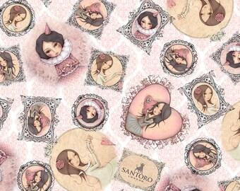 "NEW ""All for Love"" by Mirabelle by Santoro, Tossed Girl in Frames on Lt Rose, yard"
