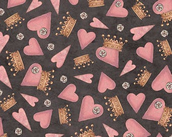 """NEW """"All for Love"""" by Mirabelle by Santoro, Hearts and Crowns on Charcoal, yard"""