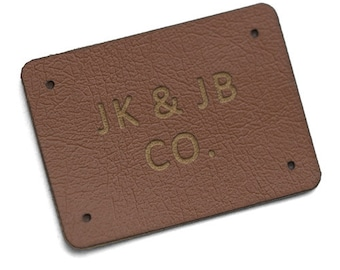 Leather labels personalized shape and text, PU leather labels