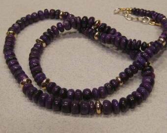 NATURAL Sugilite and Gold Filled Beaded Necklace   ...........     e980
