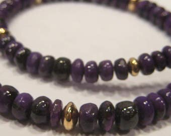 NATURAL Sugilite and Gold Filled Beaded Necklace   ...........     A20