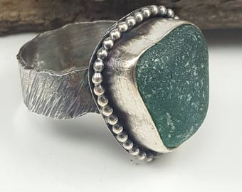Sea Glass Ring Sea Glass Jewelry Teal Sea Glass Ring Teal Beach Glass Ring Sea Glass Jewelry Size 9 - R-150