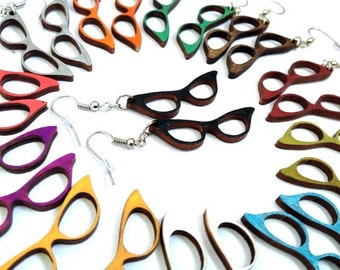 Vintage cat eye glasses wood earrings - Choose your color