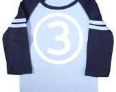 Kids Third Birthday Shirt Number Three Shirt Third Birthday Raglan Birthday Shirt Long Sleeve Third Birthday Shirt