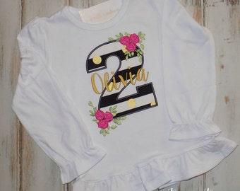 Girl Rose shirt, Girl Birthday shirt, Black, pink gold shirt, Ruffle shirt, Rose initial shirt, Floral stripes, sew cute creations