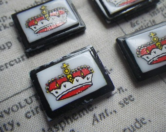 Crown Decal Painted Glass Tile Cabochons Black White and Red with Beveled Border 20x15mm 4 Pcs