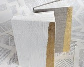 Small Coptic Bound Gold and Linen Journal in White or Natural Linen