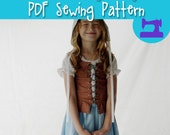 PDF SEWING PATTERN - Complete Renaissance Maiden Dress - girls age 4 thru 12 - 2 easy sizes - girls chemise middle ages flemish wench apron