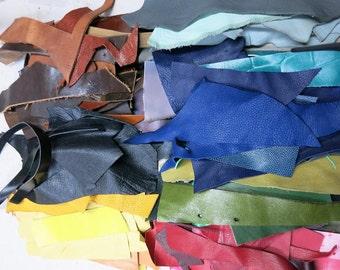 Scrap Leather Pieces - Mixed Colors - Scrap bag  - 12 0z
