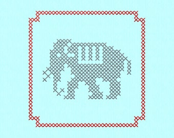 Cross Stitch style Elephant block Machine Embroidery Design File