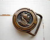 Vintage Brass Boat Belt Buckle - 1974 Sailing Boat Scooner Pirate Ship Glory of the Seas Retro Nautical Solid Brass Belt Buckle Gift For Him
