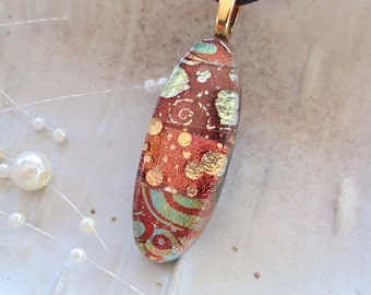 Dichroic Glass Pendant, Necklace, Glass Jewelry, Necklace Included, One of a Kind, Brown, Copper, Gold, A3
