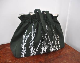 Pussy Willows - Ruffles Everyday Bag - Deep Forest Green Purse