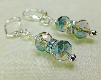Rainbow Cut Glass Crystal Beads Dangle Earrings Multicolored Rhinestone Accents