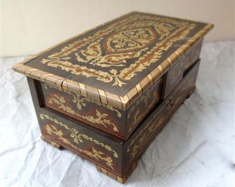 Italian Marquetry Jewelry Box -  Swing Out Trays - Silk Lined