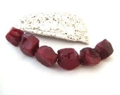 Rustic Strand of Mostly Opaque Dark Cherry Red Cullet Glass Large Random  Rough Cut Chunks set of six