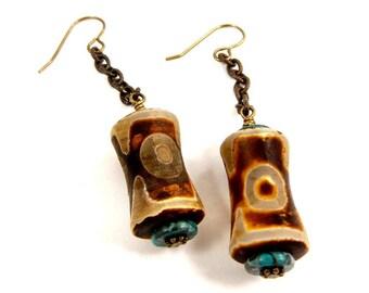 Turquoise Green and Brown Earrings Agate Jewelry Long Dangle Earrings Unusual Earrings Antique Brass Accessory Earthy Jewelry