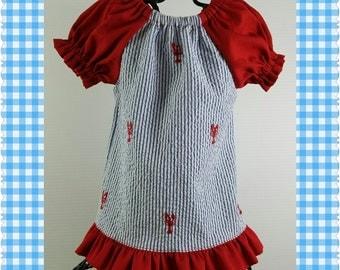 Peasant Dress - Handmade Crawfish Seersucker Peasant Dress - New Baby Girl Dress ~ Easter Dress ~ Beach Dress ~ Coming Home Dress