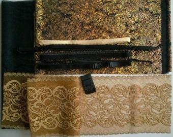 DIY BRA Kit Party Gold GLITZ Paisley by Merckwaerdigh
