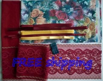 FREE Ship DIY Bra Kit FIRM Roses Red & Gold Metallic by Merckwaerdigh