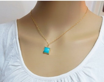 SALE - Gold Turquoise necklace, December birthstone necklace, birthday gifts for her, delicate turquoise necklace
