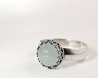 Aquamarine ring, Sterling Silver, Sea foam color gemstone, Birthstone jewelry