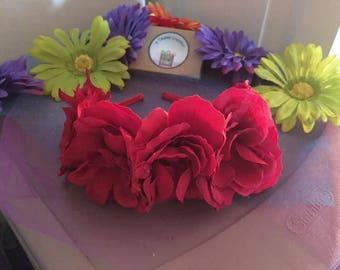 Flower Headband - Red Satin Flowers