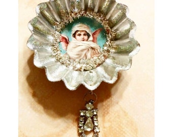 Altered Antique Swedish Tart Tin Christmas Ornament With Vintage Angel Image and Rhinestone Drop