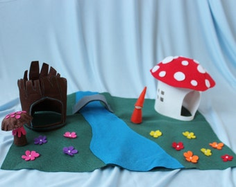 Woodland Play Mat - Travel Play Mat - Waldorf Inspired Toy - Felt Play Mat - Ready to ship