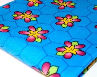 Blue, Northcott Silk, Beez Fabrics, Hexagons, Tricia Cribbs, Sewing Cotton Fabric, FQ, Fat Quarter, Kids Print, Child Fabrics Flowers