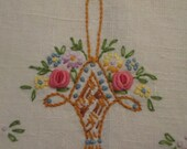 Vintage Linen Hand Towel - Embroidered Linen Towel