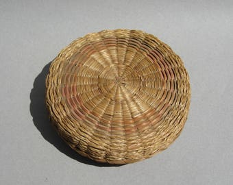 Seagrass Basket with Lid Small Vintage Hand Woven Storage Basket