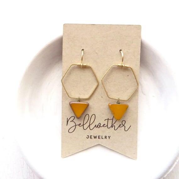 Bridesmaid Earrings > Hexagon Earrings > Mustard